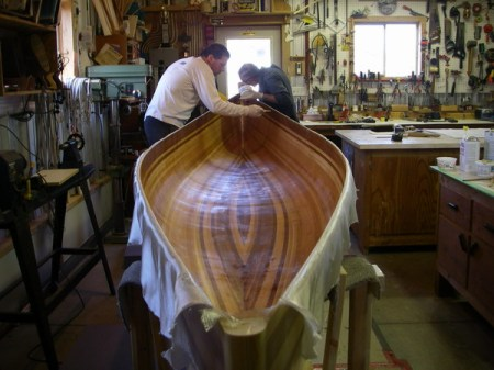 At the workshop where the Winisk canoe is made. Photo from Algonquin Adventures message board.